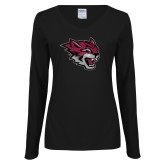 Ladies Black Long Sleeve V Neck Tee-Wildcat Head