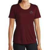 Ladies Performance Maroon Tee-Wildcat Head Chico State