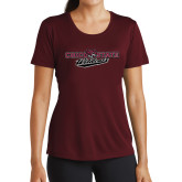 Ladies Performance Maroon Tee-Chico State Wildcats Flat Version