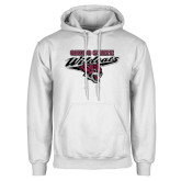 White Fleece Hoodie-Chico State Wildcats w/Wildcat Head Stacked