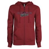 ENZA Ladies Maroon Fleece Full Zip Hoodie-Chico State Wildcats Flat Version