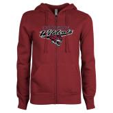 ENZA Ladies Maroon Fleece Full Zip Hoodie-Chico State Wildcats w/Wildcat Head Stacked