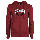 ENZA Ladies Maroon Fleece Full Zip Hoodie-Back-to-Back CCAA Champions Mens Basketball