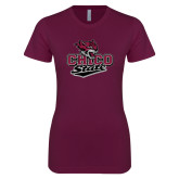 Next Level Ladies SoftStyle Junior Fitted Maroon Tee-Wildcat Head Chico State
