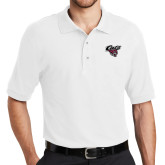 White Easycare Pique Polo-Cats w/Wildcat Head