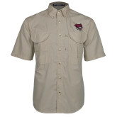 Khaki Short Sleeve Performance Fishing Shirt-Wildcat Head