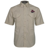 Khaki Short Sleeve Performance Fishing Shirt-Wildcat Head Chico State