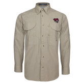 Khaki Long Sleeve Performance Fishing Shirt-Wildcat Head
