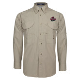 Khaki Long Sleeve Performance Fishing Shirt-Wildcat Head Chico State