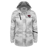 Ladies White Brushstroke Print Insulated Jacket-Wildcat Head