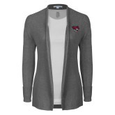 Ladies Heather Grey Open Front Cardigan-Wildcat Head