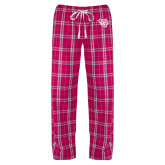 Ladies Dark Fuchsia/White Flannel Pajama Pant-Wildcat Head