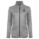 Grey Heather Ladies Fleece Jacket-Wildcat Head