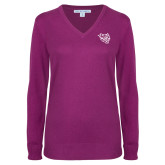 Ladies Deep Berry V Neck Sweater-Wildcat Head