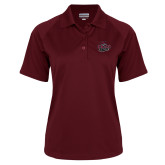 Ladies Maroon Textured Saddle Shoulder Polo-Wildcat Head Chico State