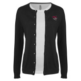 Ladies Black Cardigan-Wildcat Head