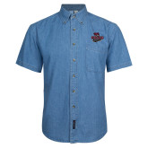 Denim Shirt Short Sleeve-Wildcat Head Chico State