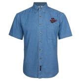 Denim Shirt Short Sleeve-Wildcat Head Chico State