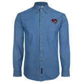 Denim Shirt Long Sleeve-Wildcat Head