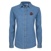 Ladies Denim Long Sleeve Shirt-Wildcat Head Chico State