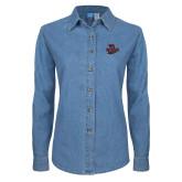 Ladies Denim Long Sleeve Shirt-Wildcat Head Chico State