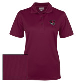 Ladies Maroon Dry Mesh Polo-Wildcat Head