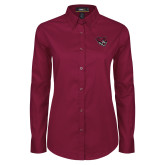 Ladies Maroon Twill Button Down Long Sleeve-Wildcat Head
