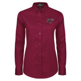 Ladies Maroon Twill Button Down Long Sleeve-Cats w/Wildcat Head