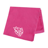 Pink Beach Towel-Wildcat Head