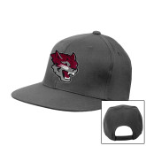 Charcoal Flat Bill Snapback Hat-Wildcat Head
