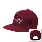 Maroon Flat Bill Snapback Hat-Wildcat Head