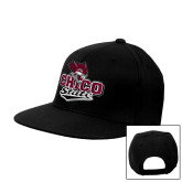 Black Flat Bill Snapback Hat-Wildcat Head Chico State