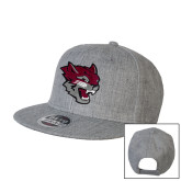 Heather Grey Wool Blend Flat Bill Snapback Hat-Wildcat Head