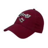 Maroon Twill Unstructured Low Profile Hat-Cats w/Wildcat Head