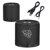 Wireless HD Bluetooth Black Round Speaker-Wildcat Head Engraved