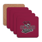 Hardboard Coaster w/Cork Backing 4/set-Wildcat Head Chico State
