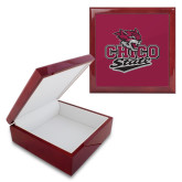 Red Mahogany Accessory Box With 6 x 6 Tile-Wildcat Head Chico State