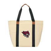 Natural/Black Saratoga Tote-Wildcat Head