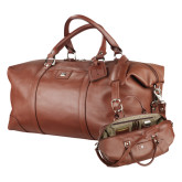 Cutter & Buck Brown Leather Weekender Duffel-Childrens Health Logo Engrave