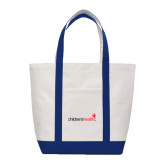 Contender White/Navy Canvas Tote-Childrens Health Logo