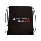 Black Drawstring Backpack-Andrews Institute Logo