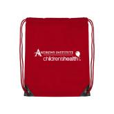 Red Drawstring Backpack-Andrews Institute Logo