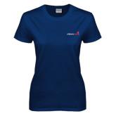Ladies Navy T Shirt-Childrens Health Logo