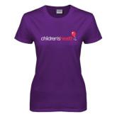 Ladies Purple T Shirt-Childrens Health Logo