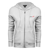 ENZA Ladies White Fleece Full Zip Hoodie-Childrens Health Logo