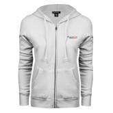 ENZA Ladies White Fleece Full Zip Hoodie-Andrews Institute Logo