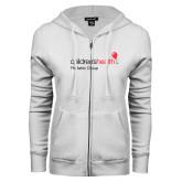 ENZA Ladies White Fleece Full Zip Hoodie-Pediatric Group