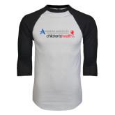 White/Black Raglan Baseball T-Shirt-Andrews Institute Logo