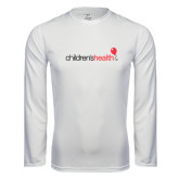 Performance White Longsleeve Shirt-Childrens Health Logo
