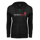 ENZA Ladies Black Fleece Full Zip Hoodie-Childrens Health Logo